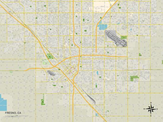 Political Map of Fresno, CA Prints at AllPosters.com on