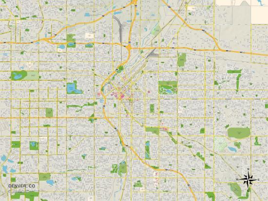 Political Map of Denver, CO Prints at AllPosters.com on