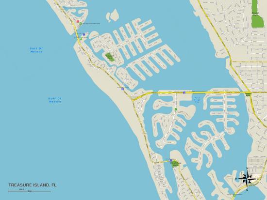 Map Of Treasure Island Florida.Political Map Of Treasure Island Fl Print At Allposters Com
