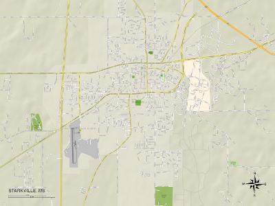 Political Map of Starkville, MS