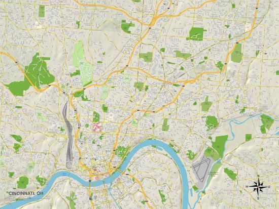 Political Map of Cincinnati, OH Prints at AllPosters.com