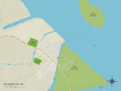 Political Map of Delaware City, DE