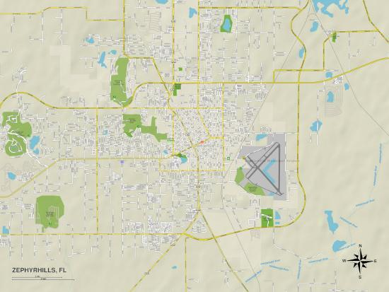 Political Map of Zephyrhills, FL Prints at AllPosters.com on