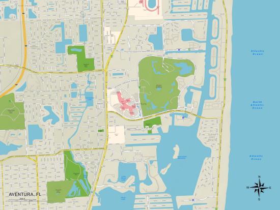 Aventura Florida Map.Political Map Of Aventura Fl Print At Allposters Com