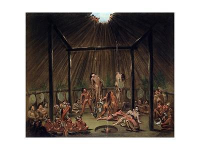 The Cutting Scene, Mandan O-Kee-Pa Ceremony by George Catlin