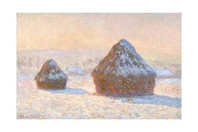 Haystacks, Snow Effect, Morning by Claude Monet