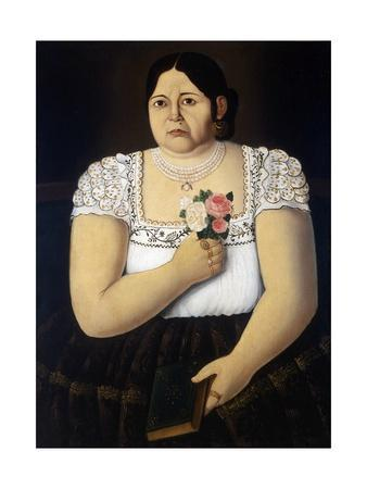 Portrait of a Native Puebla Woman with a Bouquet of Roses