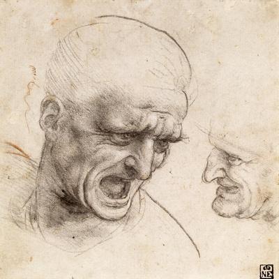 Study of Two Warriors' Heads for the Battle of Anghiari by Leonardo Da Vinci