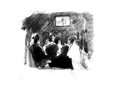 Reportage Sketch of a Crowded and Darkened Bar with a Single Glowing Television in the Background