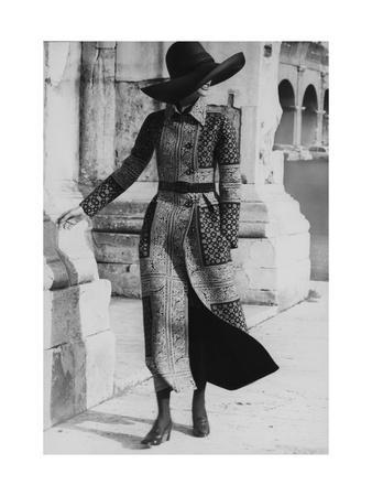 Model Wearing a Belted Valentino Wool Coat with Positano Foulard Design