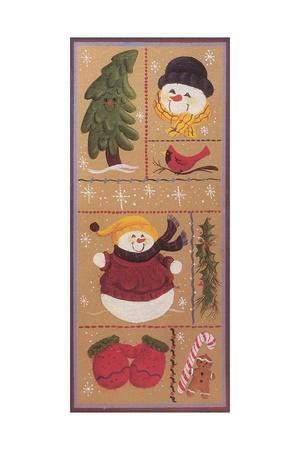 Various Squares of Mittens, Gingerbread Men, Holly, Christmas Trees, Snowmen and a Cardinal