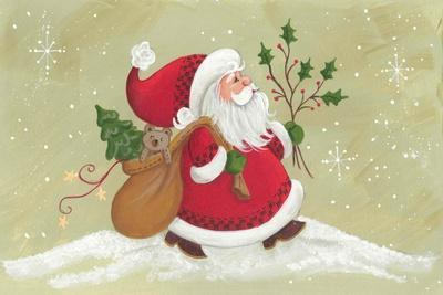Santa with a Sack of Toys and a Holly Branch