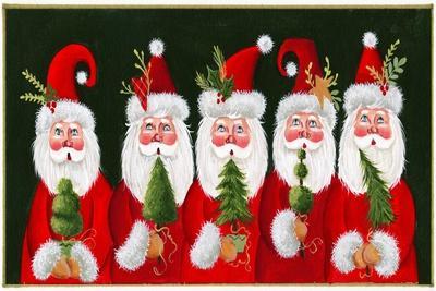 A Variety of Santas Holding Trees