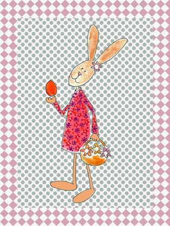 Girl Bunny with Egg and Basket