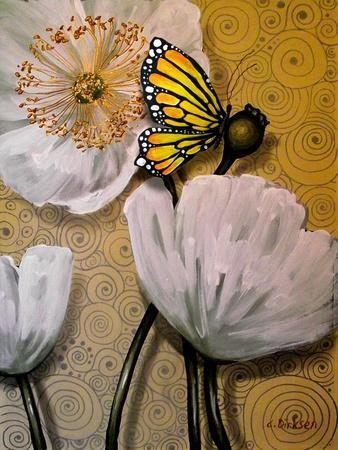 White Poppy with Butterfly