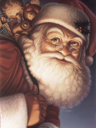 Santa Close-Up with a Sack of Toys on His Back