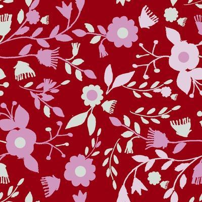 Pattern Branches on Red Background
