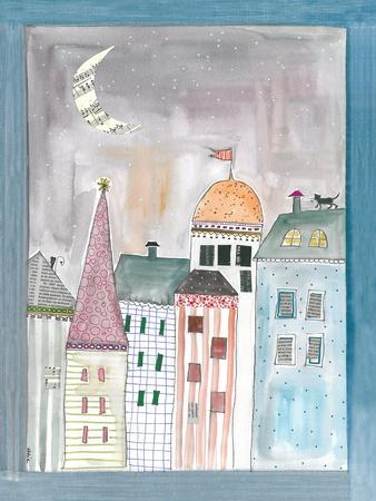 Fantasy Cityscape with Cat on Roof