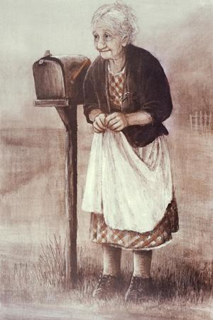 Old Woman Waiting by the Mailbox