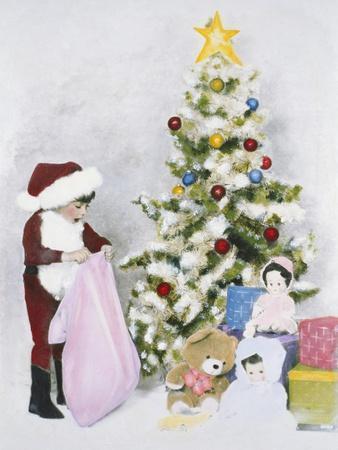 Little Boy Dressed Like Santa Delivering Presents