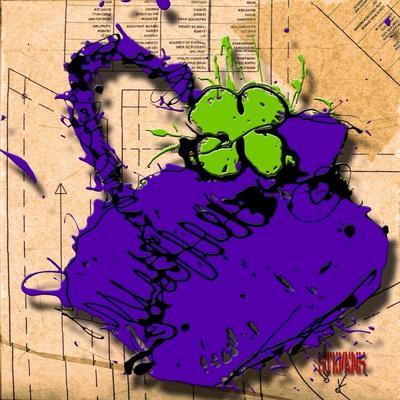 Flower Purse Green on Purple