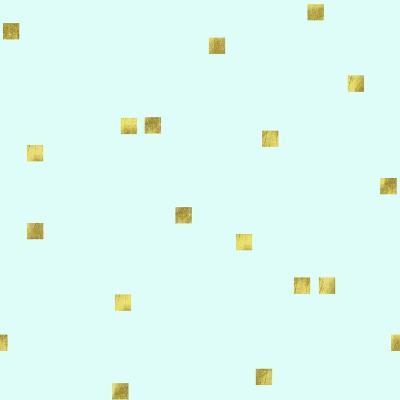 Pale Aqua Golden Squares Confetti
