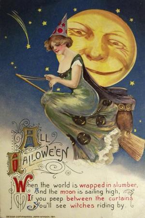 Halloween Witch Greendress Moon