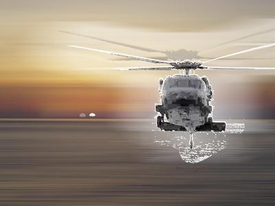 Helicopter over Water