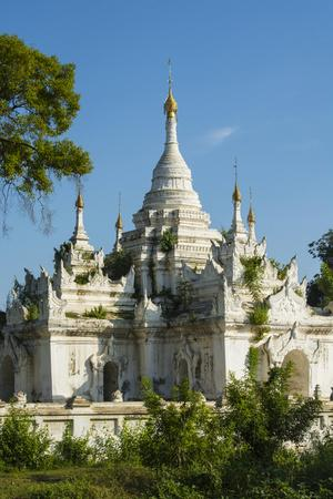 Myanmar. Mandalay. Inwa. White Temple Surrounded by Greenery