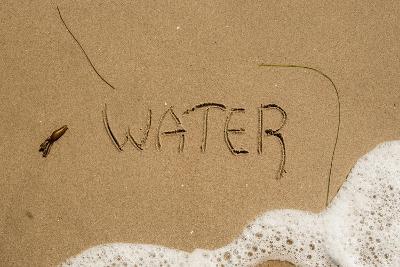 California, Santa Barbara Co, Jalama Beach, Water Written in Sand