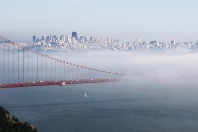 California, San Francisco Golden Gate Bridge Disappearing into Fog
