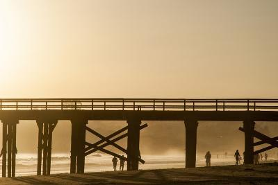 California, Santa Barbara Co, Goleta Beach Co Park, Pier at Sunset