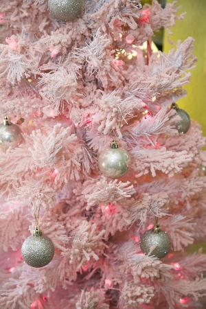 Pink Frosted Christmas Tree, Palm Springs, California, USA