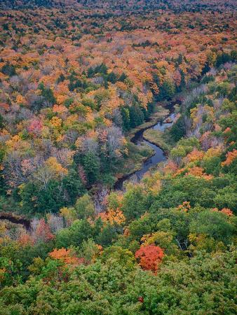 Michigan, Porcupine Mountains. the Big Carp River in Autumn