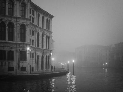Italy, Venice. Building with Grand Canal on Foggy Morning