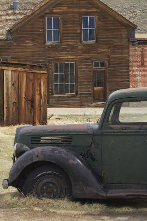 Derelict Vintage Truck and Old Buildings, Bodie Ghost Town, California