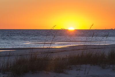 USA, MS, Bay St Louis. Sun Sets Gulf of Mexico. Beach Grasses