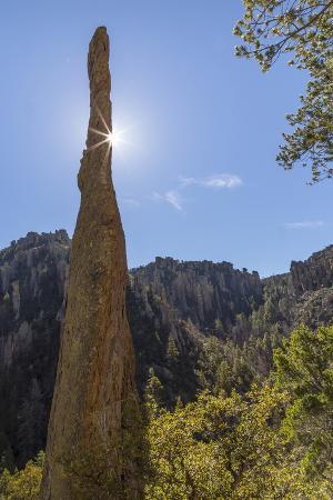 USA, Arizona, Chiricahua National Monument. Sunburst on Rocky Spire