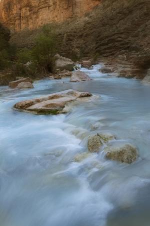 Arizona, Grand Canyon NP. Havasu Creek's Blue Water Through Canyon
