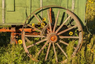 USA, South Dakota, Wild Horse Sanctuary. Close-up of Vintage Wagon