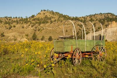 USA, South Dakota, Wild Horse Sanctuary. Scenic with Vintage Wagon