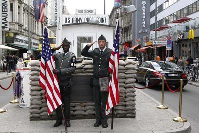 Recreated Check Point Charlie Display for Tourists, Berlin, Germany