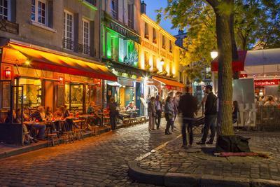 Evening Scene in Place Du Tertre, Montmartre, Paris, France
