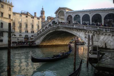 Gondola and Rialto Bridge Evening Light, Venice, Italy