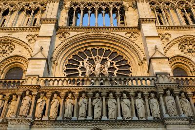 Sunset on the Front Facade of Cathedral Notre Dame, Paris, France