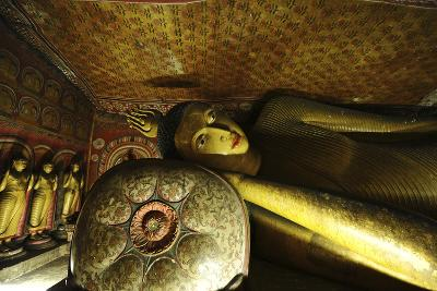 Sri Lanka, Dambulla, Dambulla Cave Temple, Face of Sleeping Buddha