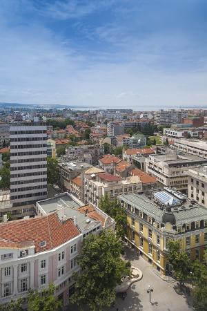 Bulgaria, Black Sea Coast, Burgas, Elevated City View