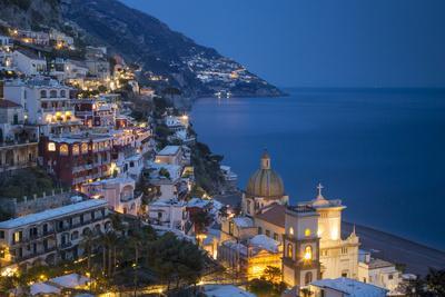 Twilight over Positano Along the Amalfi Coast, Campania, Italy