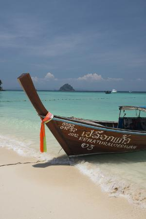 Thailand, Phuket, Island of Phi Phi Don. Traditional Longboat