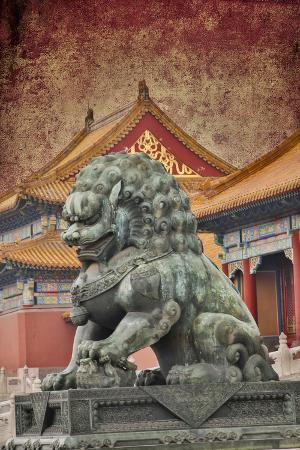 Lion Statue Standing Guard Forbidden City, Beijing, China